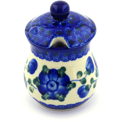 Polish Pottery Sugar Bowl 5 oz Blue Poppies