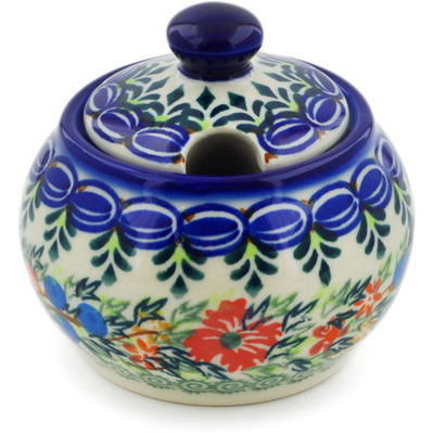 Polish Pottery Sugar Bowl 6 oz Ring Of Flowers UNIKAT