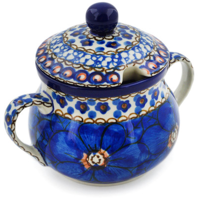 Polish Pottery Sugar Bowl 7 oz Cobalt Poppies UNIKAT