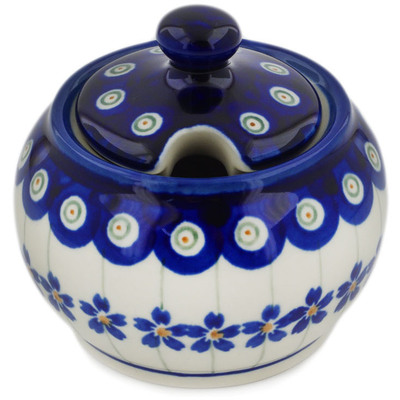 Polish Pottery Sugar Bowl 7 oz Flowering Peacock