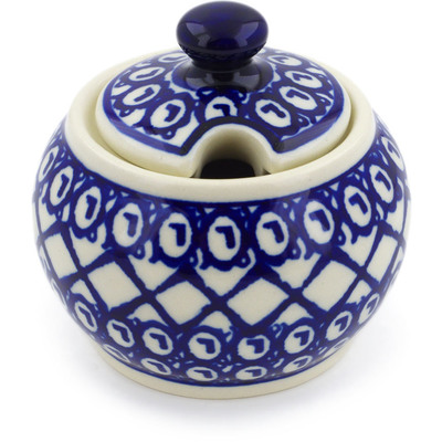 Polish Pottery Sugar Bowl 7 oz Lattice Peacock