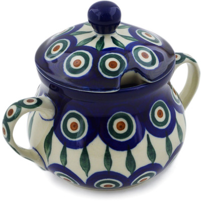 Polish Pottery Sugar Bowl 7 oz Peacock Leaves