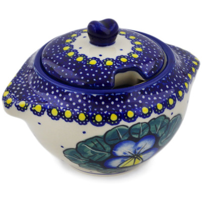 Polish Pottery Sugar Bowl 9 oz Flower In The Grass UNIKAT