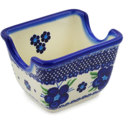 "Polish Pottery Sugar Packet Holder 3"" Bleu-belle Fleur"