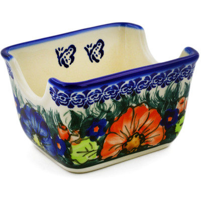 "Polish Pottery Sugar Packet Holder 3"" Butterfly Splendor UNIKAT"