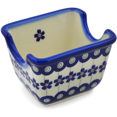 "Polish Pottery Sugar Packet Holder 3"" Flowering Peacock"