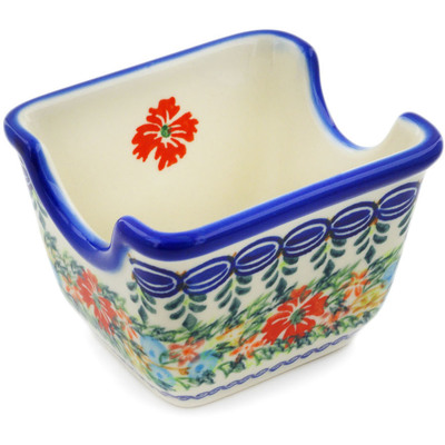 "Polish Pottery Sugar Packet Holder 3"" Ring Of Flowers UNIKAT"