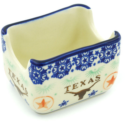 "Polish Pottery Sugar Packet Holder 3"" Texas State"