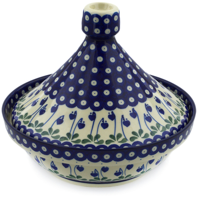 Polish Pottery Tagine Pot 57 oz Bleeding Heart Peacock
