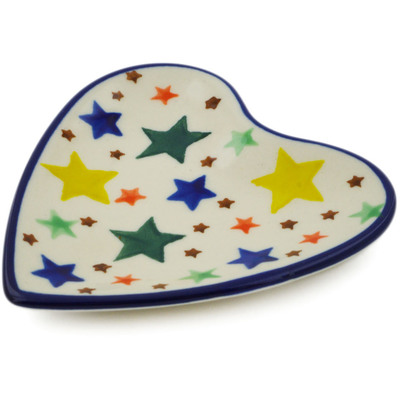 "Polish Pottery Tea Bag or Lemon Plate 3"" Star Fiesta"