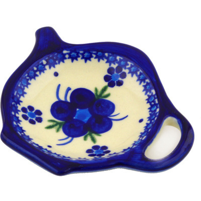 "Polish Pottery Tea Bag or Lemon Plate 4"" Bleu-belle Fleur"