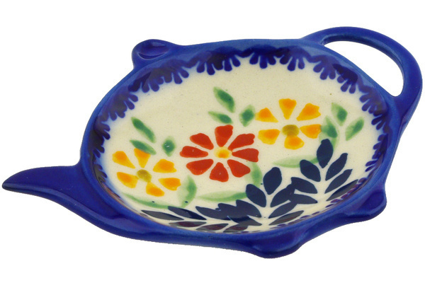 Polish Pottery Tea Bag Or Lemon Plate 4 Wave Of Flowers