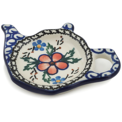 "Polish Pottery Tea Bag or Lemon Plate 5"" Lancaster Rose"