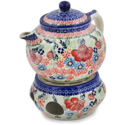 Polish Pottery Tea Coffee Pot with heater Bold Poppies UNIKAT