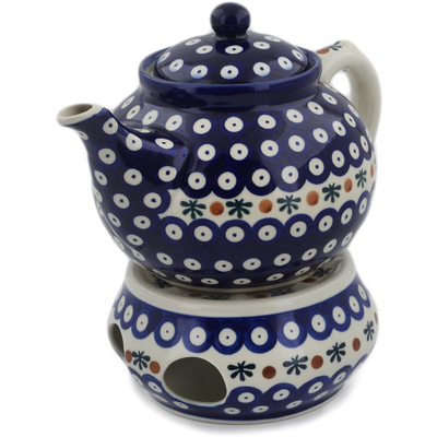 Polish Pottery Tea Coffee Pot with heater Mosquito