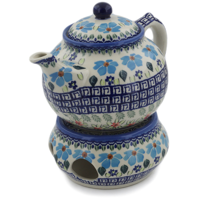 Polish Pottery Tea Coffee Pot with heater Pansy Morning