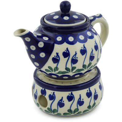 Polish Pottery Tea or Coffe Pot with Heater 15 oz Bleeding Heart Peacock