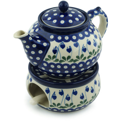 Polish Pottery Tea or Coffe Pot with Heater 40 oz Bleeding Heart Peacock