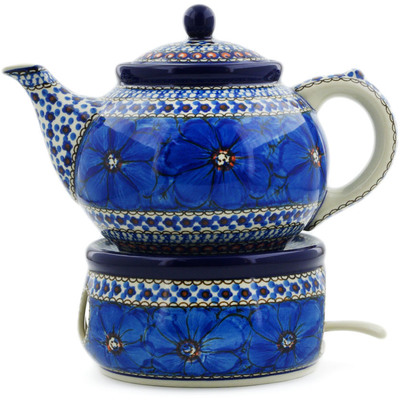 Polish Pottery Tea or Coffe Pot with Heater 40 oz Cobalt Poppies UNIKAT