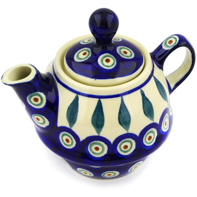 Polish Pottery Tea or Coffee Pot 10 oz Peacock Leaves