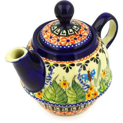 Polish Pottery Tea or Coffee Pot 10 oz Spring Splendor UNIKAT