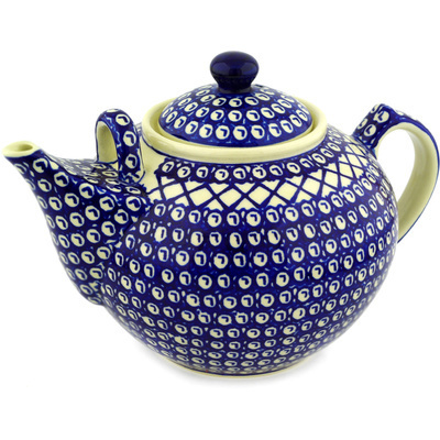 Polish Pottery Tea or Coffee Pot 101 oz Lattice Peacock