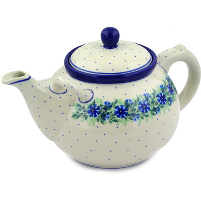 Polish Pottery Tea or Coffee Pot 105 oz Blue Bell Wreath