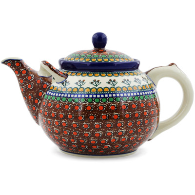 Polish Pottery Tea or Coffee Pot 105 oz Cranberry Medley UNIKAT