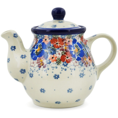 Polish Pottery Tea or Coffee Pot 13 oz Autumn Bunch UNIKAT