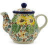 Polish Pottery Tea or Coffee Pot 13 oz Country Sunflower UNIKAT