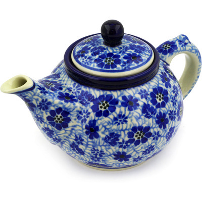 Polish Pottery Tea or Coffee Pot 13 oz Misty Dragonfly