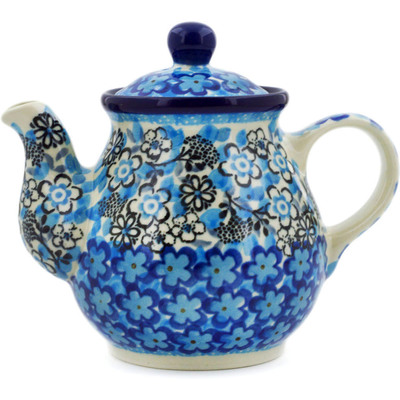 Polish Pottery Tea or Coffee Pot 13 oz Out Of Blue UNIKAT