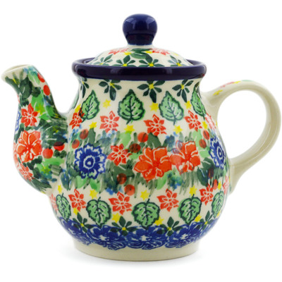 Polish Pottery Tea or Coffee Pot 13 oz Red Bouquet UNIKAT