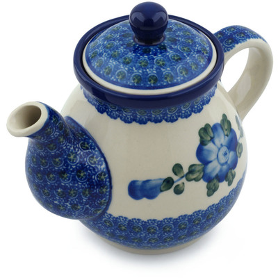 Polish Pottery Tea or Coffee Pot 20 oz Blue Poppies