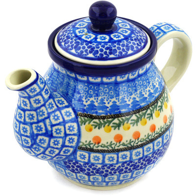 Polish Pottery Tea or Coffee Pot 20 oz Winter Forest UNIKAT