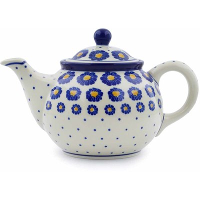 Polish Pottery Tea or Coffee Pot 3½ cups Blue Zinnia
