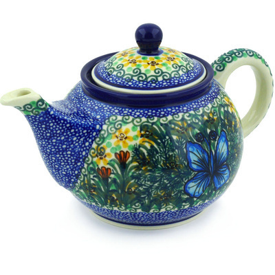 Polish Pottery Tea or Coffee Pot 3½ cups Butterfly Holly UNIKAT