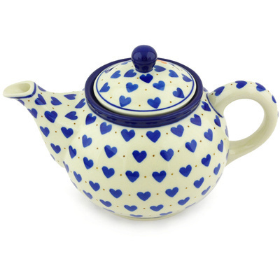 Polish Pottery Tea or Coffee Pot 3½ cups Heart Of Hearts