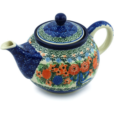 Polish Pottery Tea or Coffee Pot 3½ cups Hummingbird Bouquet UNIKAT