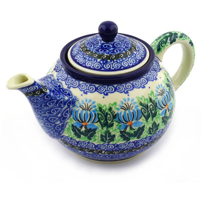 Polish Pottery Tea or Coffee Pot 3½ cups Lotus Flower UNIKAT