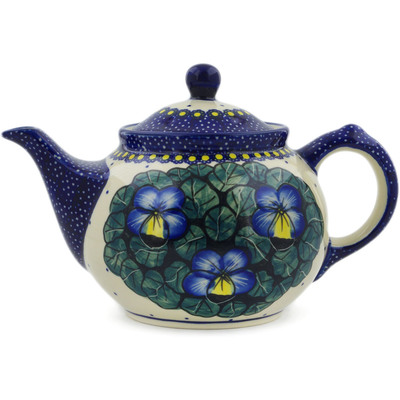 Polish Pottery Tea or Coffee Pot 30 oz Flower In The Grass UNIKAT