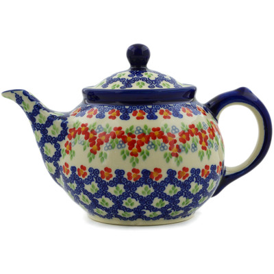 Polish Pottery Tea or Coffee Pot 30 oz Red Chains UNIKAT