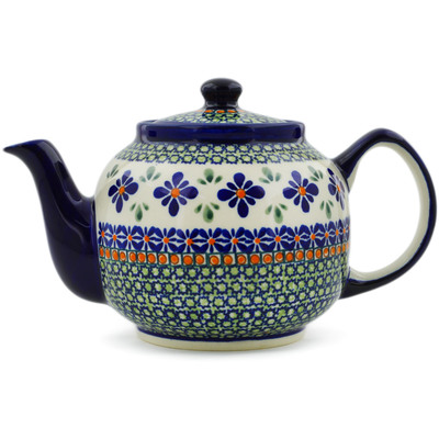 Polish Pottery Tea or Coffee Pot 4 Cup Gingham Flowers