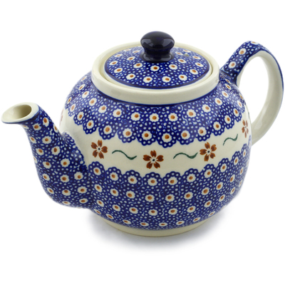 Polish Pottery Tea or Coffee Pot 4 Cup Sweet Red Flower