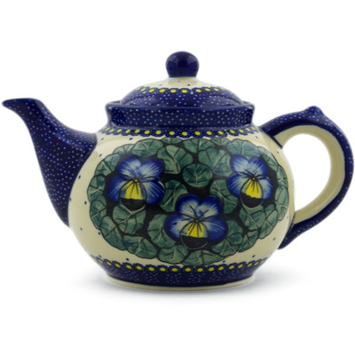 Polish Pottery Tea or Coffee Pot 47 oz Flower In The Grass UNIKAT