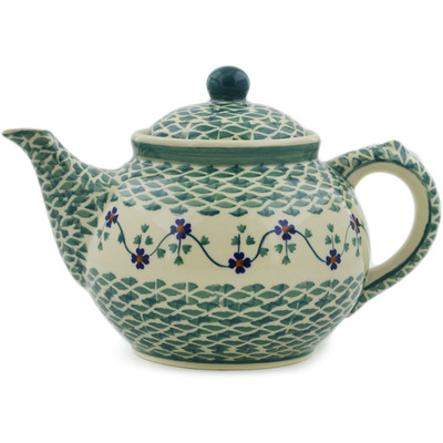 Polish Pottery Tea or Coffee Pot 47 oz Lucky Blue Clover
