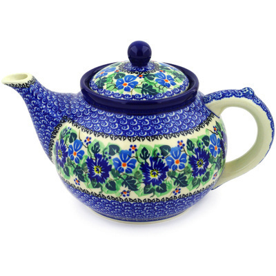Polish Pottery Tea or Coffee Pot 5 cups Morning Glory Wreath UNIKAT