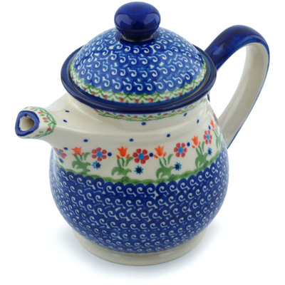 Polish Pottery Tea or Coffee Pot 5 cups Spring Flowers