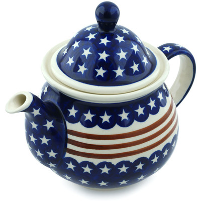 Polish Pottery Tea or Coffee Pot 6 cups Stars And Stripes Forever