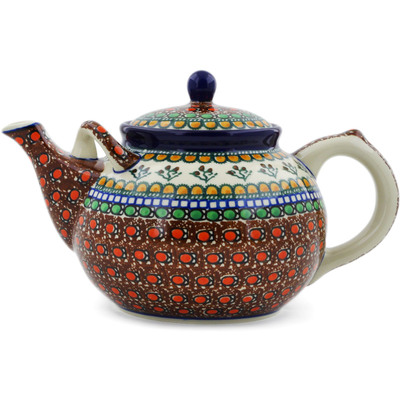 Polish Pottery Tea or Coffee Pot 7 cups Cranberry Medley UNIKAT